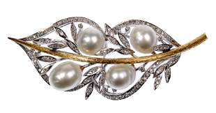 Yellow and White Gold, Pearl and Diamond Brooch