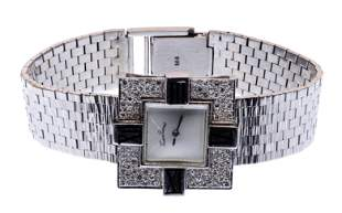 Lucien Piccard 14k White Gold Case and Band Wrist Watch