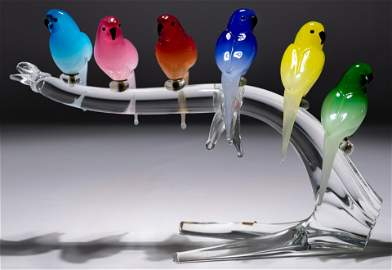 Zanetti Murano Glass Garden Bird Statue