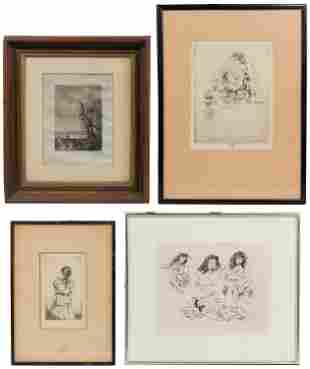 Early 20th Century Signed Etching Assortment