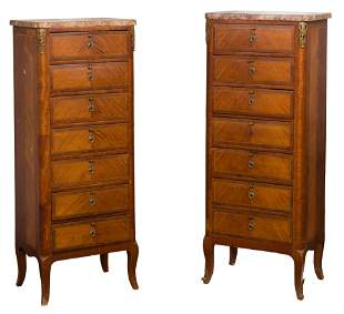 French Marquetry Lingerie Chests