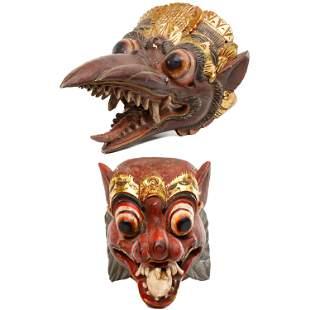 Balinese Carved Wood Masks
