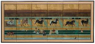 """Japanese Gouache on Paper Screen after """"Horses and Groo"""