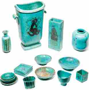 Gustavsberg Argenta Silver Overlay Pottery Assortment