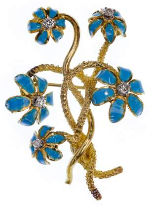 La Triomphe 18k Yellow Gold, Enamel and Diamond Floral