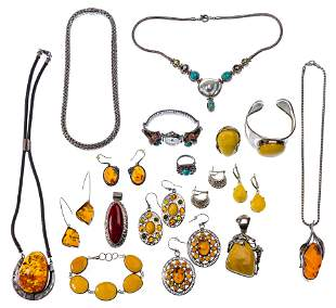 Sterling Silver, Amber and Turquoise Jewelry Assortment