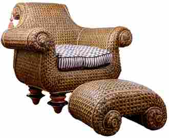 Mackenzie Childs Wicker Chair and Ottoman