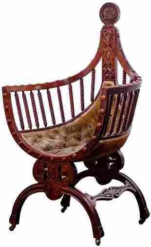 Gothic Renaissance Revival Velvet Curule Chair