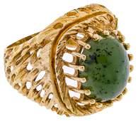 18k Yellow Gold and Jadeite Jade Ring