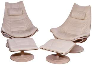 Nelo Swedish Modern Leather Chairs and Ottomans