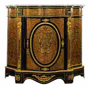 Boulle Style Marble Top Cabinet