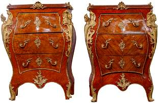 Rococo Revival Style Marble Top Bombe Chests