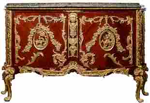 Rococo Revival Style Marble Top and Wood Sideboard