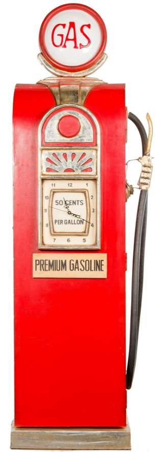 Gasoline Pump Wood Cabinet with Clock