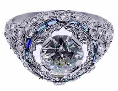 Platinum and Diamond Art Deco Style Ring