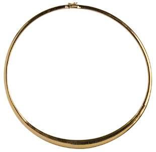 14k Yellow Gold Graduated Omega Choker Necklace