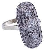 Palladium, 14k White Gold and Diamond Ring