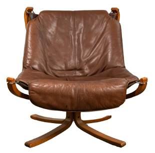 Danish Modern Leather Sling Chair