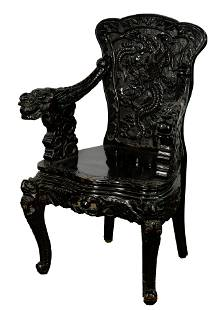 Japanese High Relief Carved Dragon Chair