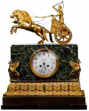 Leroy Ormolu and Marble Mantel Clock