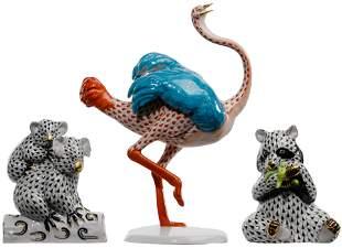 Herend Fishnet Porcelain Animal Figurines