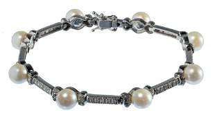 18k White Gold, Pearl and Diamond Bracelet