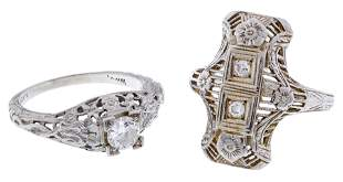 18k White Gold and Diamond Art Deco Style Rings