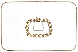 14k Yellow Gold Necklace and Bracelet