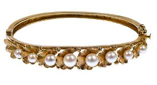 14k Yellow Gold and Pearl Hinged Bangle Bracelet