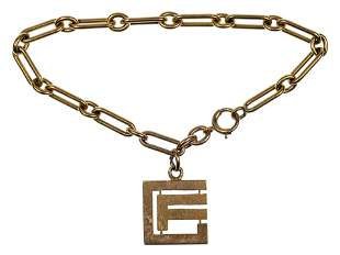 14k Yellow Gold Link Bracelet and Charm