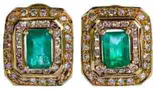 14k Yellow Gold, Emerald and Diamond Pierced Earrings