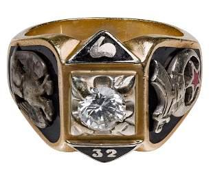 14k Yellow Gold and Diamond Masonic Ring