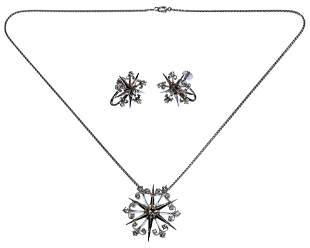 14k White Gold and Diamond Jewelry Suite