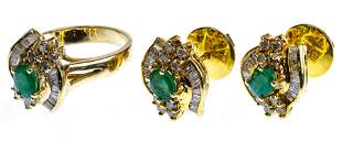 14k Yellow Gold, Emerald and Diamond Jewelry Suite