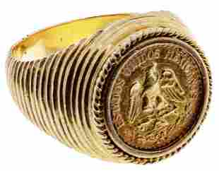 Mexican Gold Coin in 18k Yellow Gold Ring