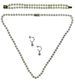 Mikimoto Yellow Gold and Pearl Jewelry Suite