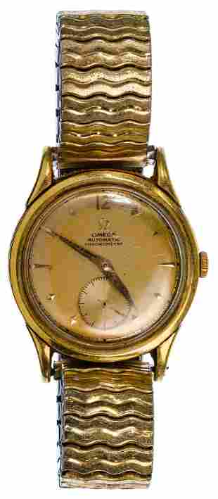 Omega 18k Yellow Gold Case Wrist Watch