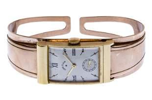14k Gold Case Wrist Watch on 10k Gold Cuff Band