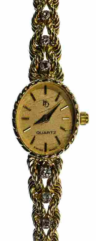 PB 14k Yellow Gold Case, Band and Diamond Wrist Watch