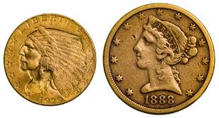 1888-S $5 and 1929 $2 1/2 Gold VF/Unc.