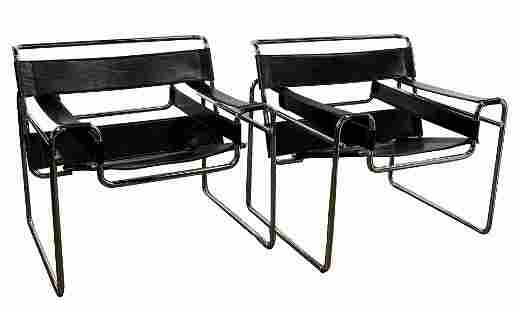 MCM Chrome and Leather Wassily Style Chairs