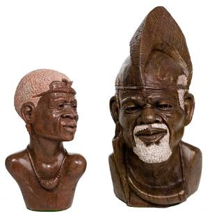 African 'Shona' Style Carved Stone Busts