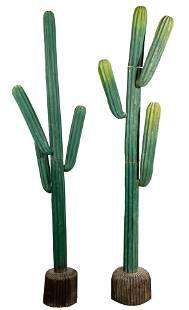 Folk Art Carved Wood Cactus Sculpture Set
