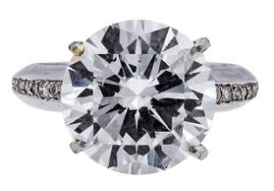 Platinum and 9.10 Carat Diamond Ring