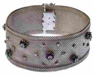 18k White Gold Mesh and Gemstone Bracelet