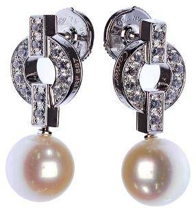 Cartier 18k White Gold, Pearl and Diamond Pierced