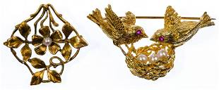18k Yellow Gold and Pearl Brooches