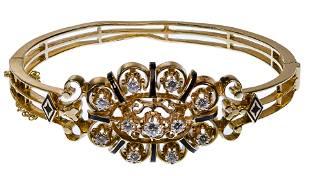 14k Yellow Gold, Enamel and Diamond Hinged Bangle