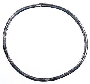 14k White Gold and Diamond Omega Choker Necklace