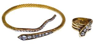 Gold and Diamond Snake Bracelet and Ring
